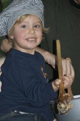 Toddler in chefs hat